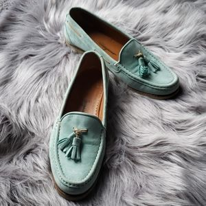 Salvatore ferragamo tiffany blue suede loafers